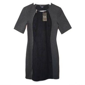 Armani Exchange gray & black bodycon dress NWT